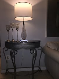 Two gray metal base white shade table lamps Linthicum Heights, 21090