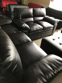 Brown bonded leather sofa and love seat