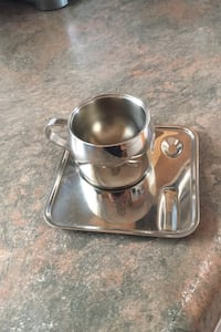6 Stainless steel espresso cups and saucers  Toronto, M6S 3L2