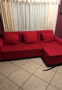 Red IKEA sectional with hidden compartment  Garland, 75042