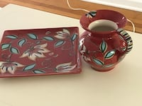 Red, blue and black floral ceramic vase and  tray North Augusta, 29841