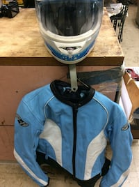 Icon blue helmet size small with a medium blue motorcycle leather jacket size M. Combo of 2 . Used. Great condition  Baltimore, 21205