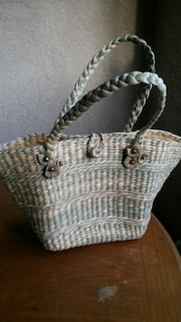 woven white and gray tote bag hand made
