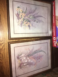 two brown wooden framed painting of flowers Ottawa, K1T 4C8