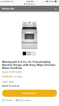 Whirlpool Electric Range (Stove Top and Oven) with Glass Top and Double Burner Technology Oshawa, L1G 5N5