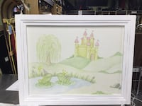 white wooden framed painting of white and green house Aberdeen, 07747