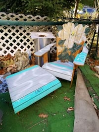 hand painted outdoor chair and ottoman, all wood Yonkers, 10710