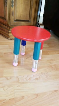 round red and blue wooden table