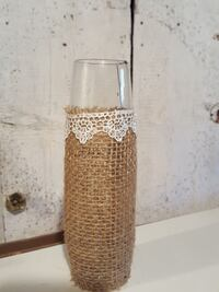 small burlap vase with white lace