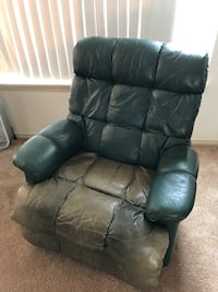 Recliner Chair, Green Leather SALEM