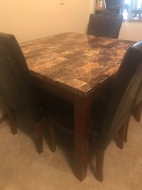 Kitchen table with marbled top with 4 faux leather chairs Minneapolis, 55408