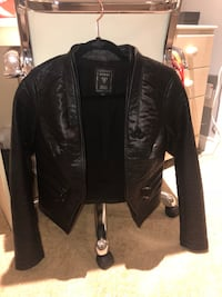 Black leather guess jacket size small, worn once.