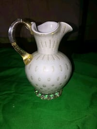 White Gold Pitcher Murano Glass Aventurine Jacksonville, 32205