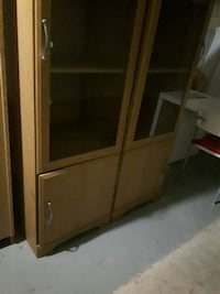 brown wooden framed glass cabinet Toronto, M5A 3X2