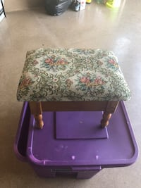 brown and white floral wooden side table Courtice, L1E 3G8