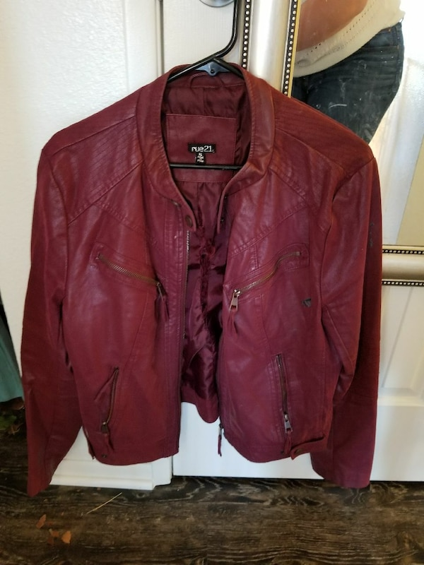Rue21 red leather jacket size xl