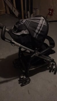black and gray tandem stroller 3165 km