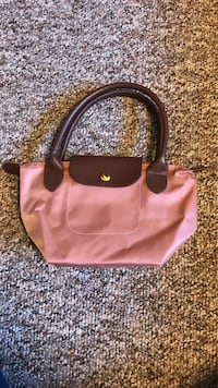 Pink and brown leather tote bag