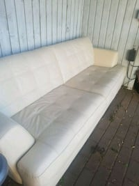 leather white fabric 3-seat sofa Coquitlam, V3K 4S4