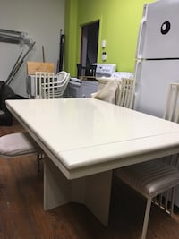 White wooden dining table set Montréal, H2H 2L5