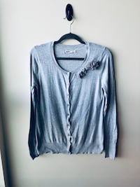 Old Navy Gray Cardigan with 3D Floral Appliqué
