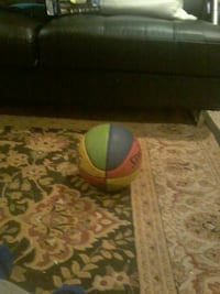 multicolored Spalding basketball