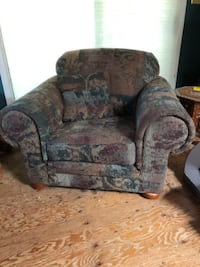 brown and red floral fabric sofa chair Abbotsford