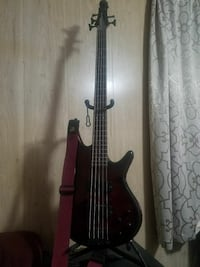 black and red 5-string bass guitar Fairchance, 15436