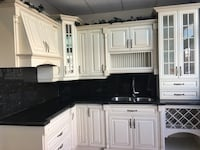 Kitchen cabinet with granite top and sink