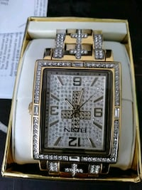 square gold analog watch with silver link bracelet West Palm Beach, 33401