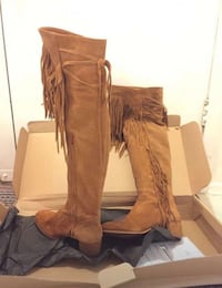 Brown leather fringe knee high boots Toronto, M3A 1C3
