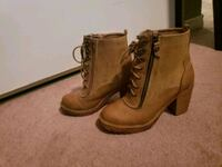 brown leather stacked heel booties Calgary, T1Y 3W4