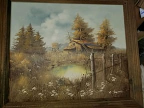 Antique oil painting  with frame