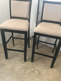 two black wooden framed white padded chairs Mc Lean, 22101