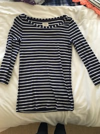 Black and white stripe scoop neck shirt