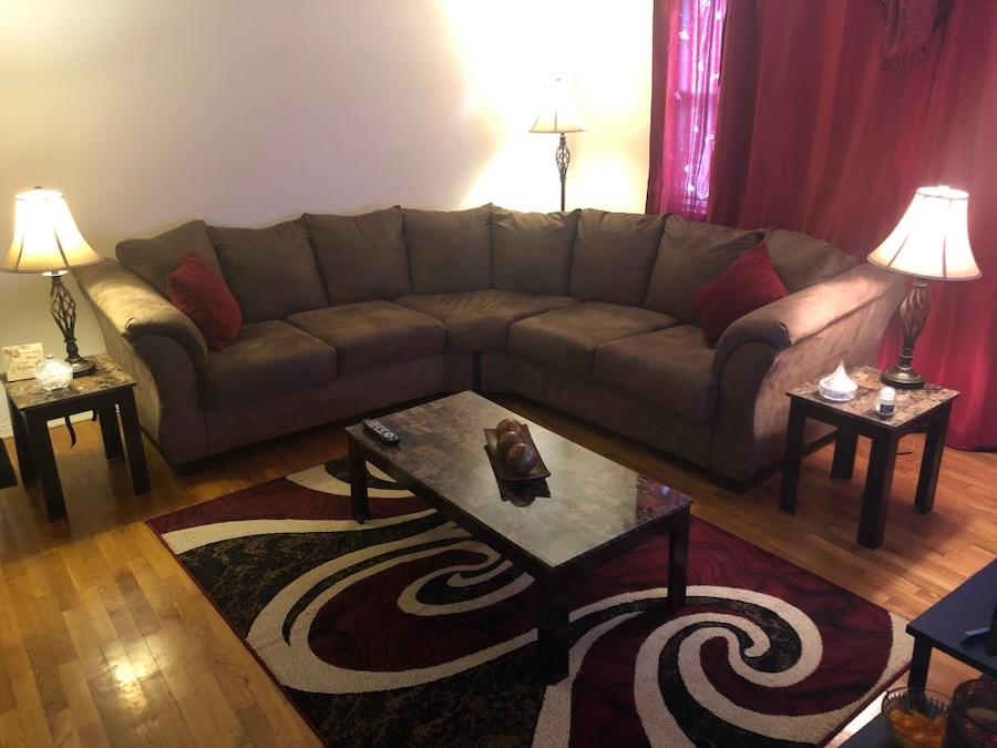 used mocha suede sectional couch living room set for sale in rh us letgo com