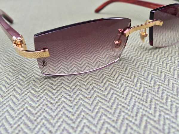 e400e5f30b6d Rare Cartier C Decor  Rimless Eyeglasses Sunglasses Bubinga Wood 18k Gold  Trim