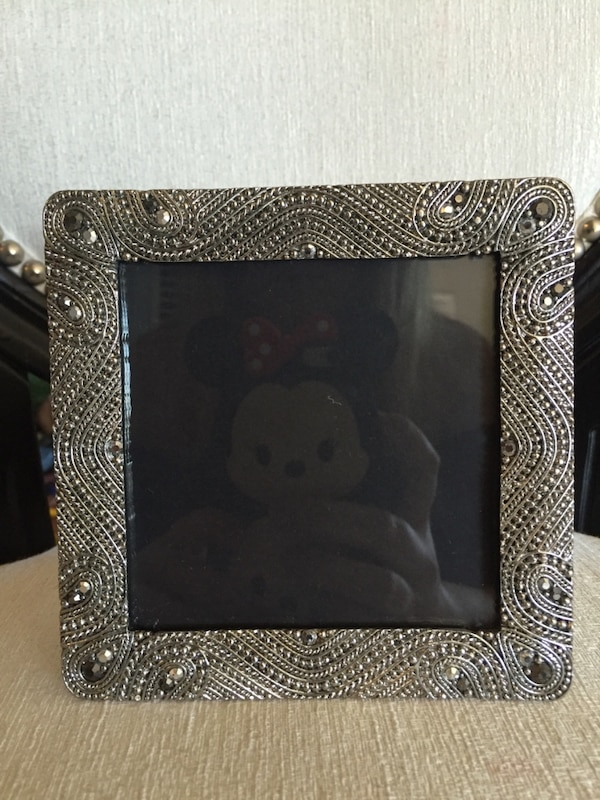 Used Nicole Miller Home Photo Frame Pic 3 Crystals Silver Details