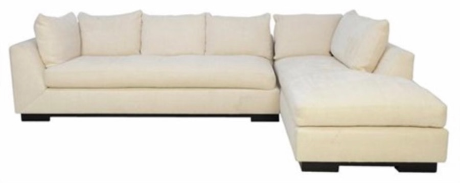 Charmant Kreiss White Fabric Sectional Sofa