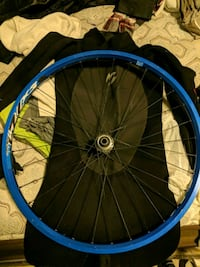 blue and black bicycle wheel Toronto, M4C 2L8
