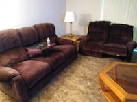 Berkline Sofa and Loveseat with Coffee Tables and Side Table null