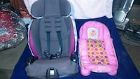 baby's pink and gray vehicle convertible seat and pink fabric bouncer