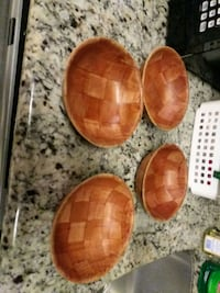 three brown wooden bowls and two white ceramic bowls Biloxi, 39531