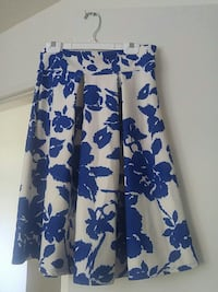 white and blue floral midi skirt