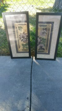 two brown wooden framed painting of flowers Sacramento, 95838