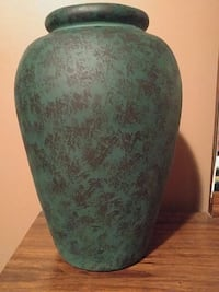 "Vase, green/black, 16"" tall Vaughan"