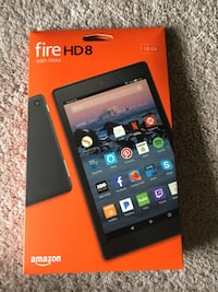 """Brand New Sealed Pack Amazon Fire HD 8 16GB for sale. Has Hands free Alexa and Show Mode (no need to buy separate echo show). HD Screen. Memory expandable using MicroSD Card. Great 8"""" Amazon Tablet and it's brand new sealed pack. Comes with cable and char Sidney, 45365"""