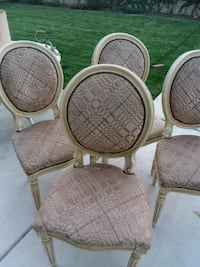 three brown wooden framed padded chairs Visalia, 93292