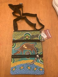 New Bunabiri Water & Fire Aboriginal 3 zip Alligator blue/green crossbody bag Fairfax, 22030