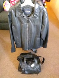 Jacket and leather suitcase